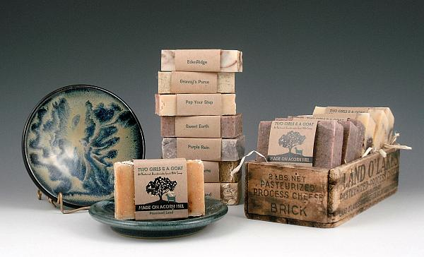 Soap Dishes and handcrafted soaps from our friends at Made On Acorn Hill...gift sets from $21