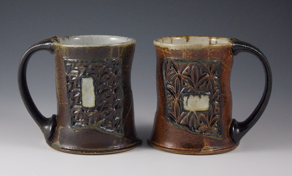 Grafted Mugs by Eric Botbyl. Ash Glazed Stoneware. 2013