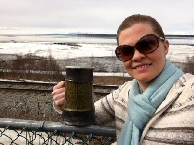 Sipping coffee by Cook Inlet, Anchorage Alaska. On second thought...that's probably a brewskie.